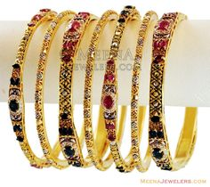 Antique Bangles Set 7 Pc(Custom Order) - - gold magnificent hand made exclusive designer bangles Pcs), designed with rhodium based tw Gold Bangles Design, Jewelry Design, Designer Bangles, Designer Wear, Gold Jewelry, Jewelery, Sapphire Color, Diamonds And Gold, Bangle Set