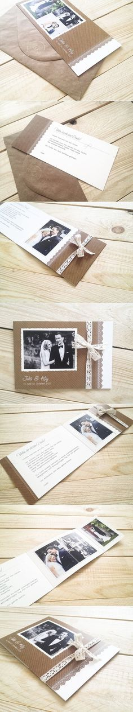 Danksagungskarten in Rustik-Schick mit Fotolasche.: