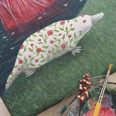 Floral platypus 🌸 #shelestart #painting #popsurrealism #lowbrow #lowbrowart #platypus #contemporaryart