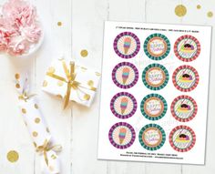 Birthday Cupcake Toppers  Cupcake Toppers Printable  Ice