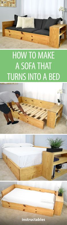 How to Make a SOFA That Turns Into a BED #woodworking #furniture