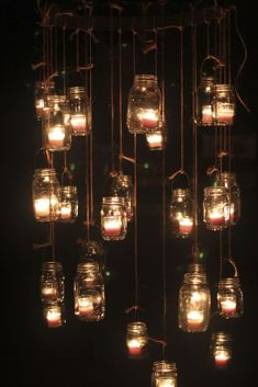 Mason Jar Candle Chandeliers Step by step instructions on how to make the hanger for jars.
