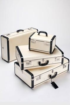 Black and white retro suit cases