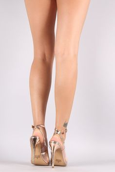 Liliana Lucite Metallic Pointy Toe Ankle Strap Stiletto Pump
