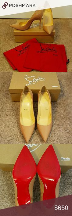 Authentic Christian Louboutin Decollete 100 pumps Gorgeous authentic Christian Louboutin Decollete 100 nude patent pumps. Like new condition, only worn twice. Includes original box and dustbags. Women's size 38.5 Christian Louboutin Shoes Heels