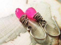 Hot Pink Stone Earrings wrapped in Oxidized by thelittlehappygoose, $25.00