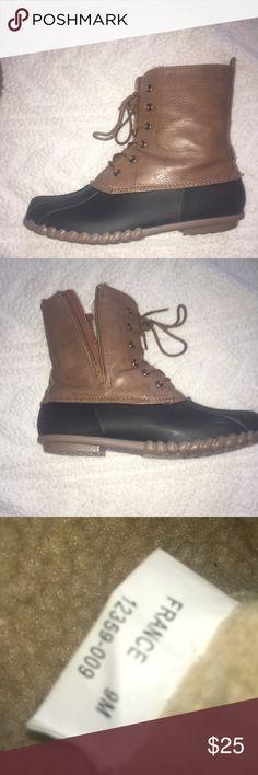 duck boots black & brown zip up duck boots Shoes Winter & Rain Boots