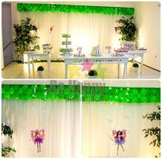 Festa infantil temática: Barbie no Jardim das Borboletas. Atenção: Não trabalhamos com muitos balões (bexigas), preferimos opções mais criativas e artesanais. Conheça nossas opções... ;)