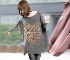 Heart Patterns Batwing Long Sleeve Cashmere Sweater For Women (KHAKI) China Wholesale - Sammydress.com