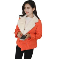 Girls Sweet 2017 New Winter Jacket Women Fashion Winter Coat Female Soft Lambs Short Slim Cotton Outwear Women Warm Coat CM1443 #Affiliate