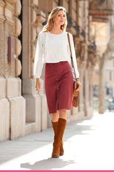 Knelangt skjørt Waist Skirt, High Waisted Skirt, Jeggings, Leather Skirt, Dresser, Elegant, My Style, Jeans, Womens Fashion