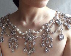 Susan love wedding bridal rhinestone crystals and pearls shoulder necklace