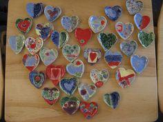 ceramic hearts 3rd graders at SunRidge School