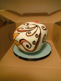 Day of the dead skull cake, side view, hand painted