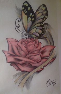 Tending the rose butterfly ( colored ) rose and butterfly tattoo, mandala, tattoos, Rose And Butterfly Tattoo, Butterfly Tattoo On Shoulder, Butterfly Tattoos For Women, Butterfly Drawing, Butterfly Tattoo Designs, Mom Tattoos, Body Art Tattoos, Small Tattoos, Flower Tattoos
