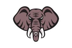 African Elephant Head Angry Tusk Retro Illustration of an african elephant head angry with tusk facing front set on isolated white background done in retro style. #illustration #AfricanElephantHead