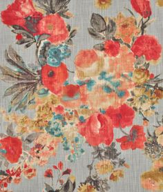 HGTV Garden Odyssey Fog Fabric for gray, red, coral or turquoise rooms - $19.55 | onlinefabricstore.net