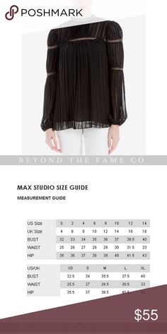 Max Studio London High-Neck Sheer Pleated Blouse NEW WITH TAGS Romantic as can be, this pleated Max Studio blouse is punctuated with openwork trim at the neckline, the yoke and the sleeves to create an airy effect. Color-Black  DETAILS: -High neckline -Button closure at back keyhole -Openwork trim at neckline, yoke and sleeves; pleated throughout -Puff-shoulder long bishop sleeves -Easy fit; hits at hip Max Studio Tops Blouses