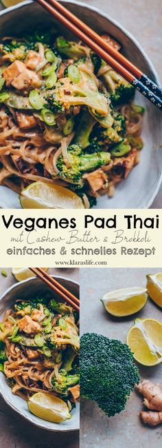 Veganes Pad Thai mit Cashew Butter und Brokkoli Klara`s Life - Asiatische rezepte Vegetarian Recipes, Healthy Recipes, Vegan Recipes Broccoli, Cashew Butter, Vegan Snacks, Whole 30 Recipes, Tasty Dishes, Asian Recipes, Vegetarian