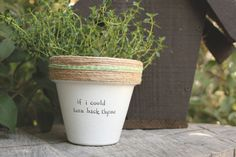 """This listing is for one 4 hand decorated terracotta pot with the lyric from Chers Turnback Thyme"""" Hooray puns! These pots are a perfect addition to your home, office, friends house, mothers kitchen or anywhere you can put a pun on it! Brighten your day and windowsill with these hand decorated pots made out of a home workshop in East Los Angeles. » Pot does not include plant » The height and diameter of the pot are 4 inches » All pots are sealed with an earth safe finish for safe growth of…"""
