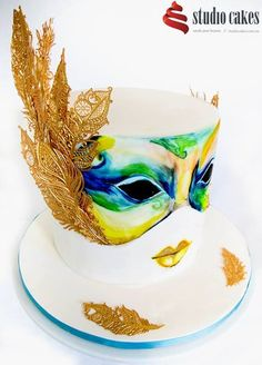 masquerade-themed cake by Studio Cakes of Brisbane