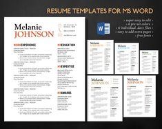 Resume On Microsoft Word 3 Pk Modern Resume 2 Pages Cover Letter Referencemorningpixels .