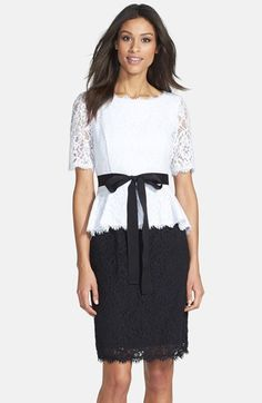 Nue+by+Shani+Two-Tone+Lace+Peplum+Dress+available+at+#Nordstrom