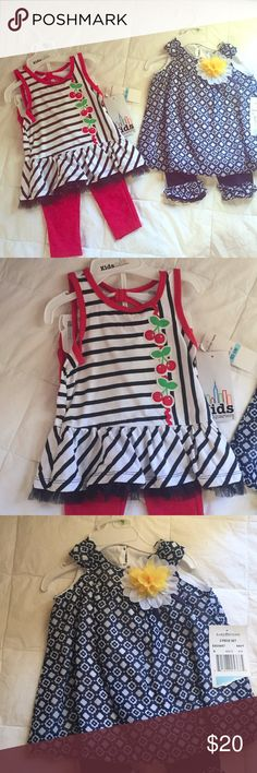 Baby girl spring/summer 2 piece sets. NWT Baby girl spring summer outfits! Never worn because my girl didn't fit into them for the season :)  Red is 6/9  Blue and white is 3/6 Matching Sets