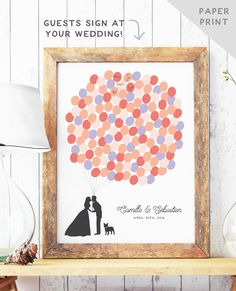 Fun Wedding Guest Book Alternative - Balloon Bunch Guest Book Alternative - Bride and Groom Silhouette - Rustic Guest Book Poster - PAPER by MissDesignBerryInc on Etsy https://www.etsy.com/listing/109865902/fun-wedding-guest-book-alternative