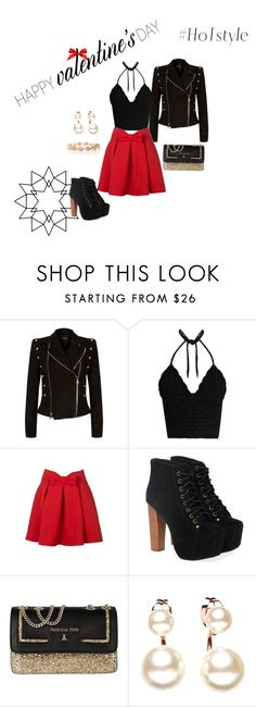 """Valentine's Day with House of Treasure"" by dalila-delic ❤ liked on Polyvore featuring Balmain, RED Valentino, WithChic, Jeffrey Campbell, Patrizia Pepe and ValentinesDayOutfit"