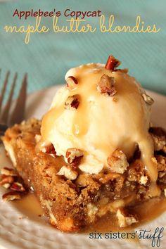 Brownie recipes 140526450860824534 - Applebee's Copycat Maple Butter Blondies Köstliche Desserts, Delicious Desserts, Yummy Food, Maple Dessert Recipes, Delicious Dishes, Fruit Recipes, Cupcake Recipes, Blonde Brownies, Restaurant Recipes