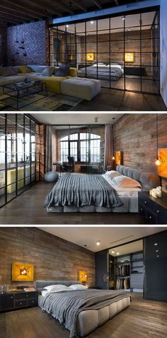 This loft apartment features a large bedroom that's separated from the living area by glass wall.