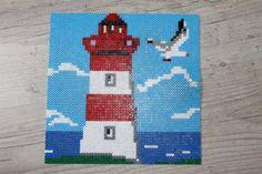 Lighthouse hama beads by Pearler Bead Patterns, Perler Patterns, Crochet Pixel, Voss, Art Perle, Motifs Perler, Nerd Crafts, Peler Beads, Fusion Beads
