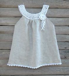 Oatmel organic baby, Toddler, girl dress with a hand crocheted white collar and flower brooch Toddler Girl Dresses, Little Girl Dresses, Girls Dresses, Baby Dress Patterns, Victoria Secret Outfits, Special Dresses, White Collar, Baby Sewing, Baby Knitting
