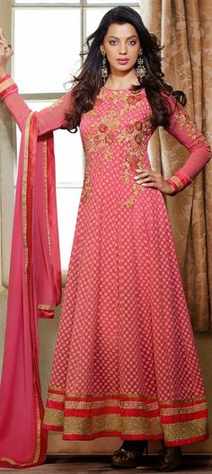 442308: Pink and Majenta color family semi-stiched Anarkali Suits .