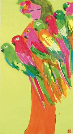 Walasse Ting, A geisha and seven parrots Raphael Angel, Happy Art, Parrots, Bird Feathers, Geisha, Figurative Art, Journal Ideas, Lovers Art, Artsy Fartsy