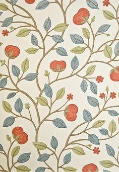 Medlar Wallpaper Cream wallpaper with medlar fruit tree print in Aqua, Green and Mandarin.