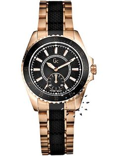 GUESS Collection Gold Rose Stainless Steel Bracelet Black Cerami Gold  Leather 5e9123451ce