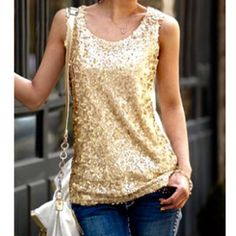 Sleeveless Sequins Embellished Tank Top 2XL, but runs small. Sleeveless Scoop Neck Sequins Embellished Women's Tank Top. Material: polyester Tops Tank Tops