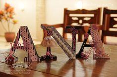 Letras em MDF de 25mm de espessura e 15cm de altura. Ideal para decoração de ambientes e festas. A AMJ disponibiliza letras e apliques de corte a laser para você soltar sua imaginação e realizar trabalhos lindos. Acesse nossa loja virtual: www.artemadeirajoinville.com.br