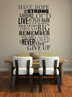 Have Hope Be Strong Laugh Loud Inspirational by imprinteddecals, $17.00