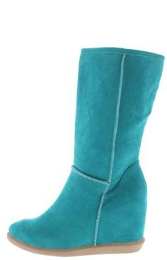 TOM3 MINT WEDGE FAUX FUR BOOT ONLY $15.88