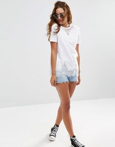 ASOS | ASOS Lace Mix Longline T-Shirt at ASOS