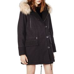 Maje Gaston Fur Trim Parka (47.350 RUB) ❤ liked on Polyvore featuring outerwear, coats, black, maje, lined parka, black coat, black parka and fur trimmed parka