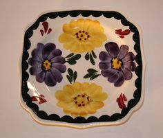 1930's Southern Potteries, Blue Ridge Square Plate Vintage Duds and Decor