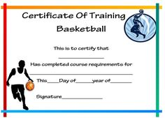 Basketball Camp Certificate Template  Basketball Certificate