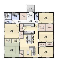 39坪5LDKパントリー収納のある平屋の間取り | 平屋間取り Small Apartment Plans, Small Apartments, Dream House Plans, House Floor Plans, Craftsman Floor Plans, Floor Plants, Room Tiles, Future House, New Homes