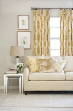 Jaclyn Smith Home Vol. III fabrics and trimmings (Lemon Zest – Cashew): Sofa: 02628 – Oatmeal; Draperies: 02618 – Soleil; Pillows (left to right): 02602 – Lemon Zest and 02919 – Cashew (trim); 02633 – Chamois and 02921 – Cashew (trim); 02619 – Lemon Zest.