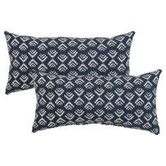 2-Piece Outdoor Lumbar Pillow Set - Threshold™ - Navy Arrw