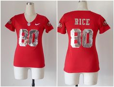 Women's San Francisco 49ers #80 Jerry Rice Handwork Sequin Lettering Fashion Jersey